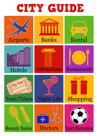 tour guide: City travel guide icons on color background, vector illustration Illustration