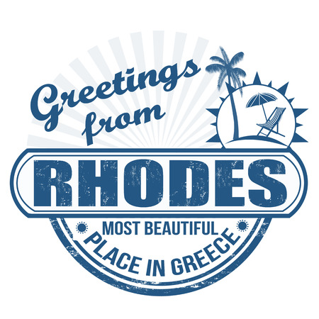 rhodes: Grunge rubber stamp with text Greetings from Rhodes  most beautiful place in Greece, vector illustration Illustration