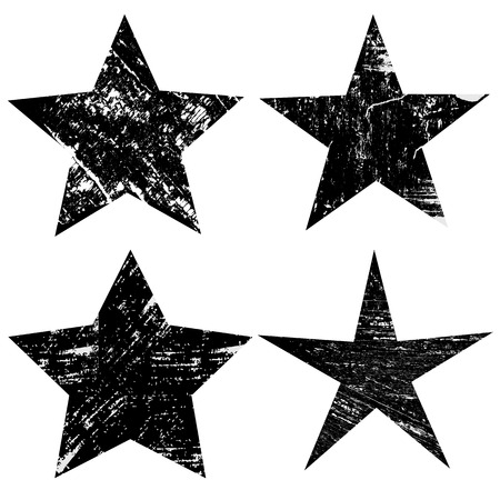 Grunge stars on white background, vector illustration