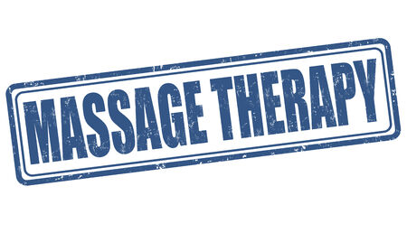 Massagetherapie grunge rubber stempel op een witte, vector illustratie