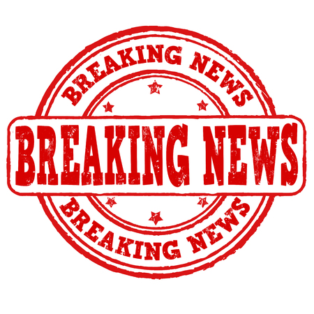 hot announcement: Breaking news grunge rubber stamp on white, vector illustration