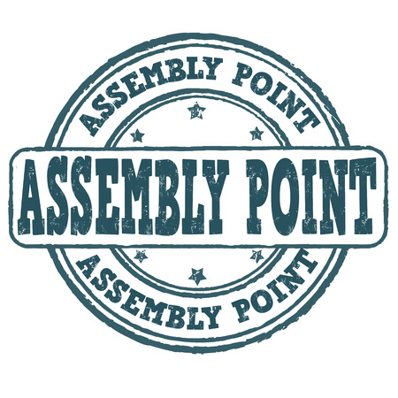 assembly point: Assembly point grunge rubber stamp on white, vector illustration