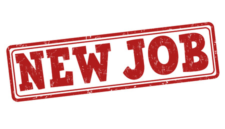 new job: New job grunge rubber stamp on white, vector illustration