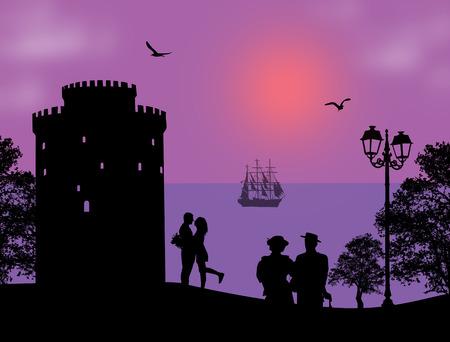 Lovers in Thessaloniki on beautiful background, vector illustration