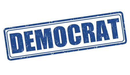 democrat: Democrat grunge rubber stamp on white, vector illustration Illustration