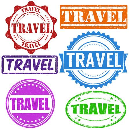 passaporto: Viaggiare francobolli d'epoca gomma grunge impostato su bianco, illustrazione vettoriale