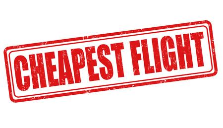 cheapest: Cheapest flight grunge rubber stamp on white, vector illustration