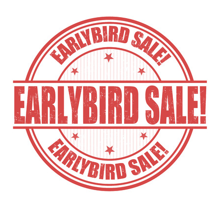 Early Bird Sale Grunge Stempel auf weiß, Vektor-Illustration