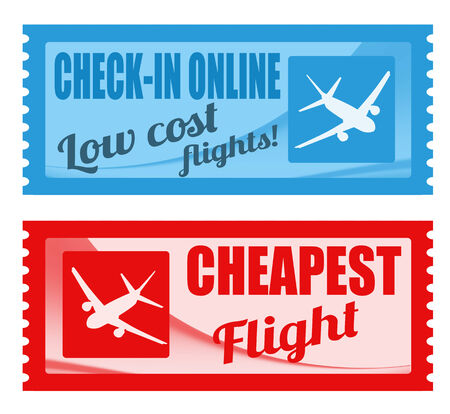 low cost: Cheapest flight and low cost coupons on white background, vector illustration Illustration