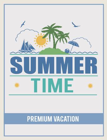 Retro summer time design poster, vector illustration Vector