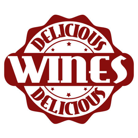 wines: Delicious wines stamp or label on white, vector illustration