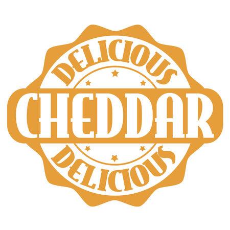 cheddar: Delicious cheddar stamp or label on white, vector illustration