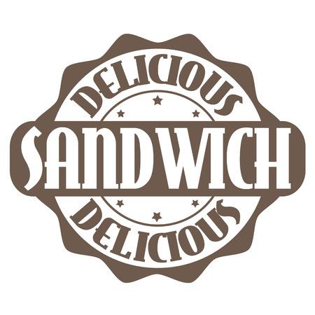 sandwich restaurant: Delicious sandwich stamp or label on white, vector illustration