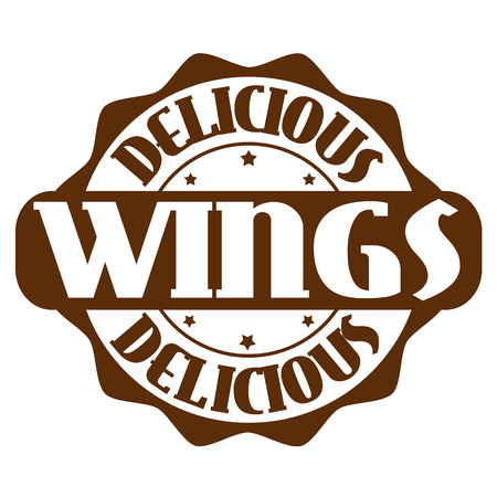 Delicious wings stamp or label on white, vector illustration Vector