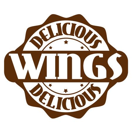Heerlijke vleugels stempel of het etiket op wit, vector illustratie