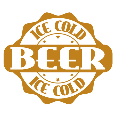 draft beer: Ice cold beer wines stamp or label on white, vector illustration