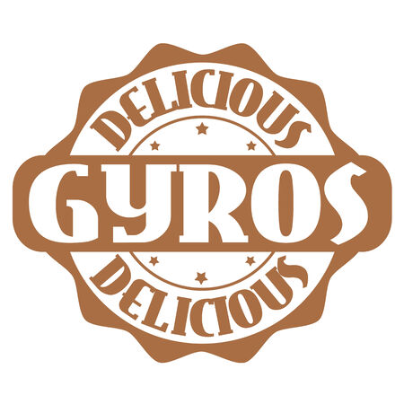 seasoned: Delicious gyros stamp or label on white, vector illustration