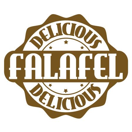 Delicious falafel stamp or label on white, vector illustration