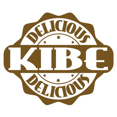 Delicious kibe stamp or label on white, vector illustration