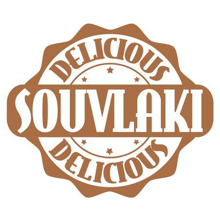 Delicious souvlaki stamp or label on white, vector illustration Vector