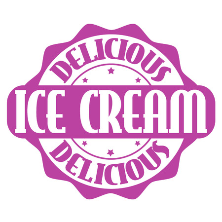 Delicious ice cream stamp or label on white, vector illustration