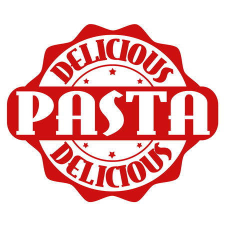 seasoned: Delicious pasta stamp or label on white, vector illustration