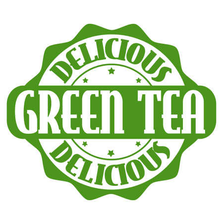 Delicious green tea stamp or label on white, vector illustration Vector