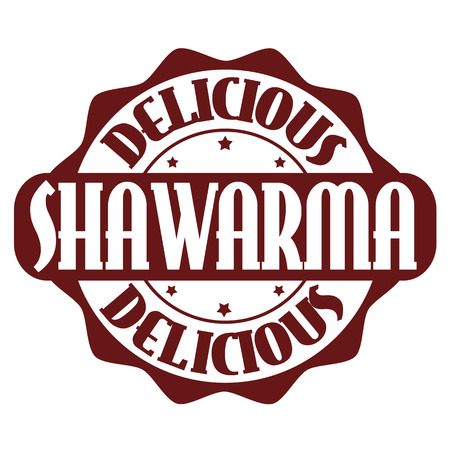seasoned: Delicious shawarma stamp or label on white, vector illustration