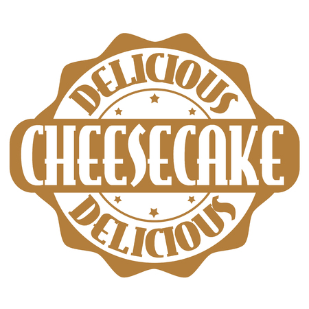 Delicious cheesecake stamp or label on white, vector illustration