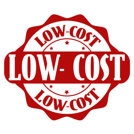 low cost: Low cost stamp or label on white, vector illustration
