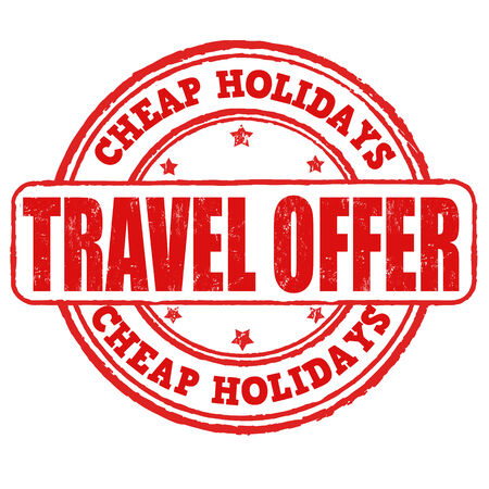 best travel destinations: Cheap holidays, travel offer grunge rubber stamp on white, vector illustration