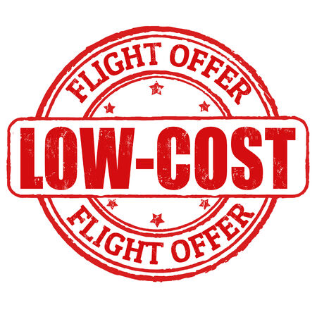 low cost: Low cost, flight offer grunge rubber stamp on white, vector illustration