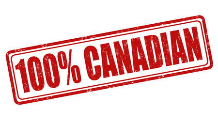 100 percent canadian grunge rubber stamp on white, vector illustration Vector