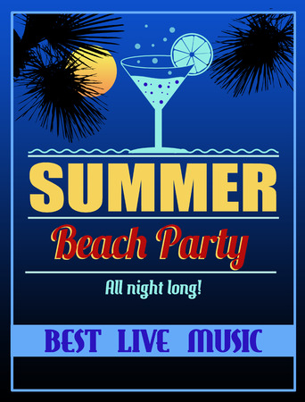 long night: Retro summer beach party design posteror flyer. Night club event typography, vector illustration