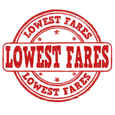 Lowest fares grunge rubber stamp on white, vector illustration
