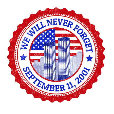 world trade center: We will never forget grunge rubber stamp on white, vector illustration