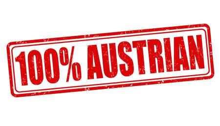 austrian: 100 percent austrian grunge rubber stamp on white, vector illustration