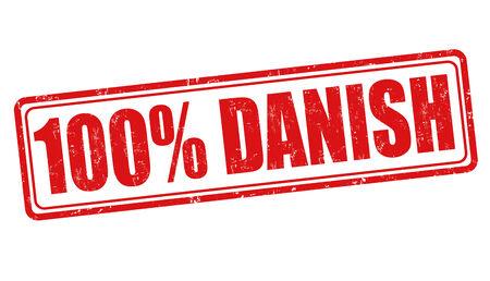danish: 100 percent danish grunge rubber stamp on white, vector illustration Illustration