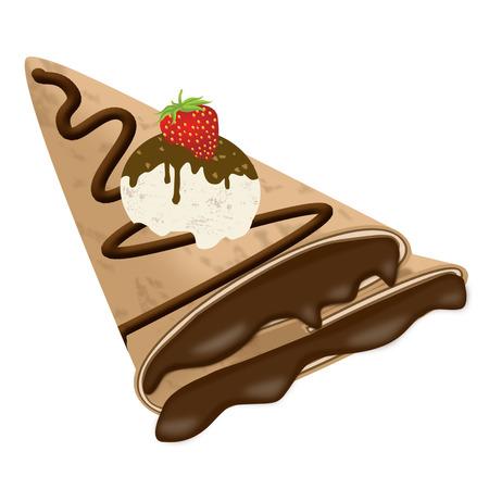 Vector illustratie van een crêpe (pannenkoek) met chocolade, ijs en aardbeien op wit wordt geïsoleerd