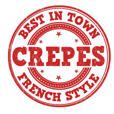 crepes: Best in town crepes grunge rubber stamp on white, vector illustration Illustration