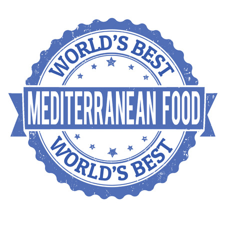 Mediterráneo grunge comida sello de goma en blanco, ilustración vectorial