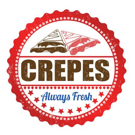 crepas: Crepes grunge sello de goma en blanco, ilustración vectorial