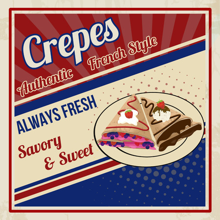 Crepes poster in vintage style, vector illustration Illustration