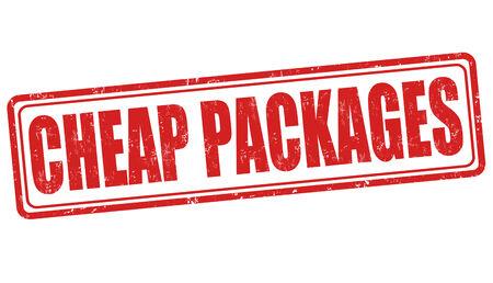 Goedkoop pakketten grunge rubber stempel op een witte, vector illustratie Vector Illustratie