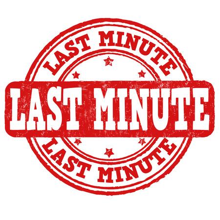 last minute: Last minute grunge rubber stamp on white, vector illustration