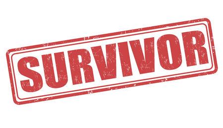 sobreviviente: Grunge Survivor sello de goma en blanco, ilustraci�n vectorial