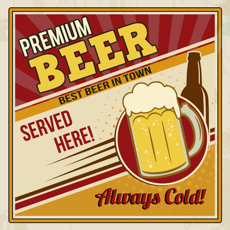 imperfections: Vintage premium beer poster on retro style, vector illustration