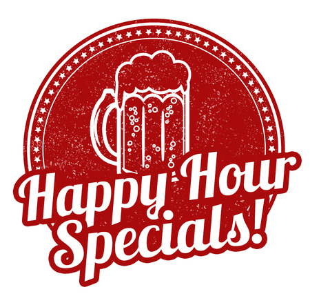 at sign: Happy hour specials grunge rubber stamp on white background, vector illustration
