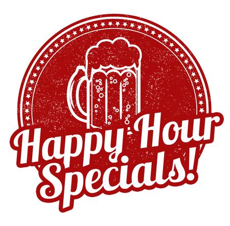 Happy hour specials grunge rubber stempel op een witte achtergrond, vector illustratie Stock Illustratie