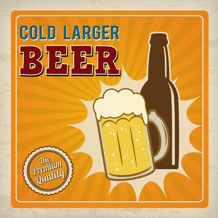 larger: Cold larger beer. Poster in vintage style, vector illustration